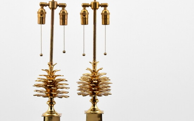 Pair of Pine Cone Lamps, Manner of Maison Charles