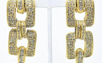 Pair of Vintage C 1990s Rhinestone Gilt Earrings