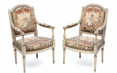 Pair of grey-green lacquered beech armch armchairs, Louis...