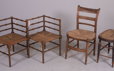 Pair paint decorated stick and ball corner chairs