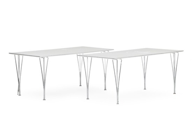 Piet Hein, Bruno Mathsson: A pair of tables with legs of chromed steel. Top with...