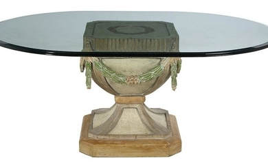 Polychromed Wood and Glass-Top Dining Table