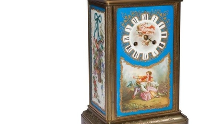 Porcelain and engraved bronze clock, with foliage decoration, gallant scene and trophies, the movement signed by Rollin in Paris.