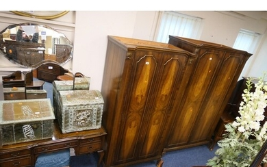 Queen Anne style walnut bedroom suite comprising two double ...