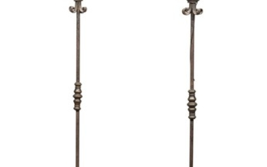 RARE PAIR OF TALL FLOOR CANDLESTICKS IN WROUGHT IRON - 16TH-17TH CENTURY
