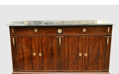 RESTORATION FILADE in mahogany and flamed mahogany veneer....