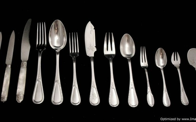 ROUSSEL - FRENCH ANTIQUE STERLING SILVER FLATWARE SET,