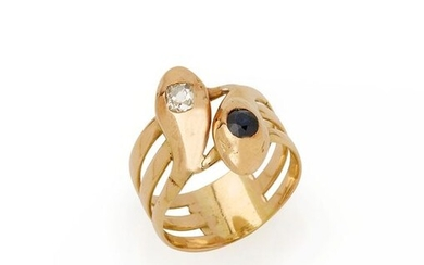 Ring Snakes in 18K (750/°°) yellow gold, forming three rings, the heads of the reptiles adorned with a sapphire and a diamond. TDD: 62 Gross weight: 9.8g