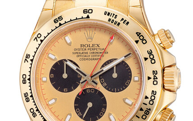 Rolex, Ref. 116518 A fine, attractive and well-preserved yellow gold chronograph wristwatch with guarantee and box