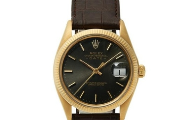 Rolex - an 18ct gold Oyster Perpetual Date wrist watch.