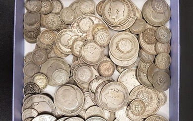 SELECTION OF BRITISH SILVER COINS FROM 1920 - 1946 various d...