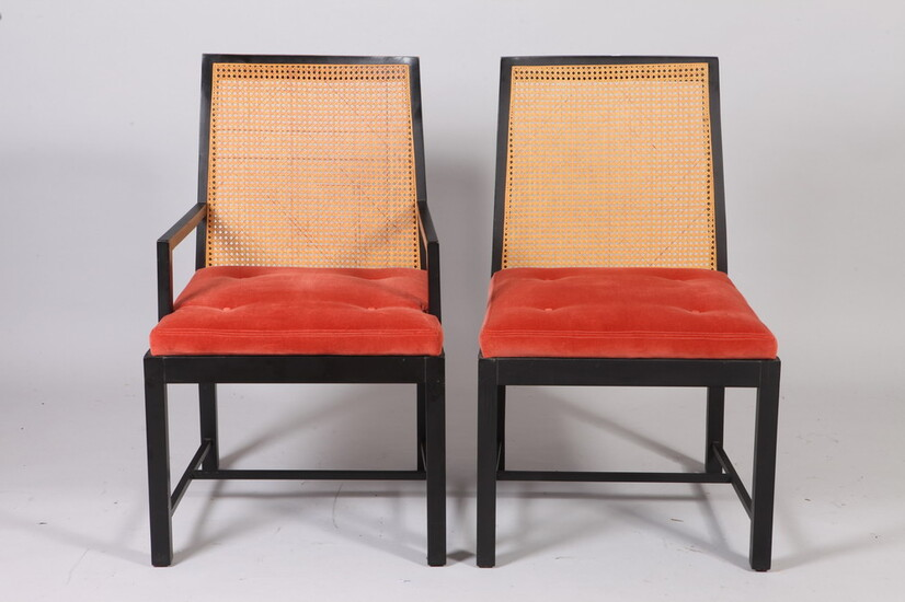 SET SIX MID-CENTURY MODERN DINING CHAIRS WITH EBONIZED FRAMES, CANED...