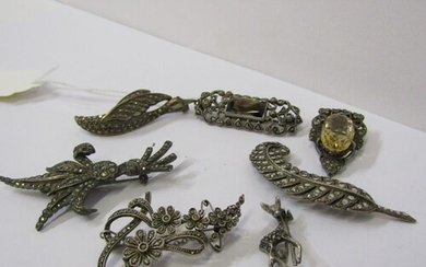 SILVER ITEMS including, stoneset brooches, marcasite brooche...