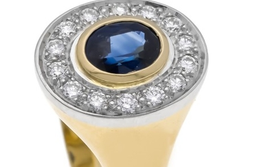Sapphire-brilliant ring GG / WG 750/000 with an...