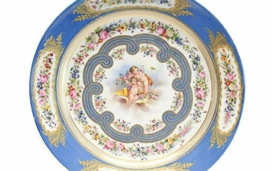 Sevres Porcelain Wall Charger, Hand Painted, 19th C
