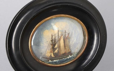"""""""Ship at sea"""", miniature diorama 7 x 8 cm, in a brass and blackened wood frame, curved glass, Napoleon III period.14.5 x 12.5 cm"""