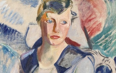 Sigurd Swane: Portrait of a woman in blue dress. Signed SS. Oil on canvas. 57×51 cm.