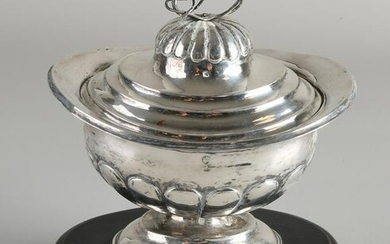 Silver tobacco jar, 833/000, oval model with fluting on