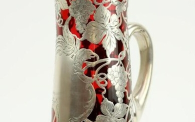 Sterling Silver Overlay Cranberry Glass Pitcher