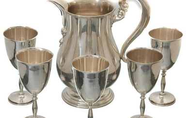 Sterling Silver Pitcher & Goblets