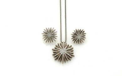 Sterling Silver and Diamond Pendant and Pair of Earrings, David Yurman