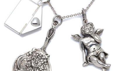 THREE VICTORIAN STYLE SILVER PENDANTS ON CHAIN; envelope, cherub, and a miniature hand mirror adorned with nouveau lady, 3.5-5.5cm l...