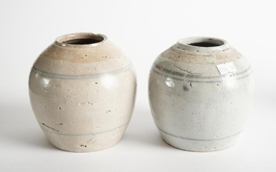 TWO CHINESE GLAZED POTTERY JARS, H.13CM, LEONARD JOEL LOCAL DELIVERY SIZE: SMALL