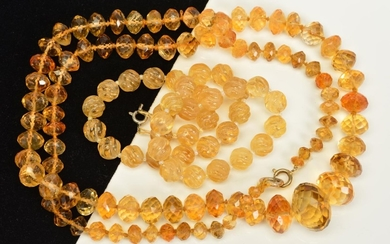 TWO CITRINE BEAD NECKLACES, the first designed as a uniform ...