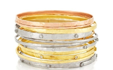 Thirteen Tricolor Hammered Gold and Diamond Bangle Bracelets