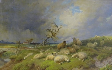 Thomas George Cooper (1836-1901). River landscape with sheep, oil...