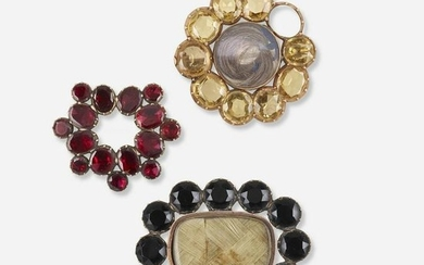 Three antique gem-set brooches
