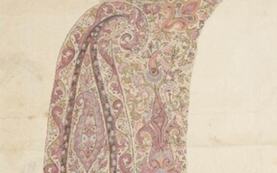Three prepatory drawings for shawl design, Kashmir, India, late 19th...