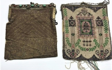 Two [2] Antique Beaded and Mesh Bags Need Restoration