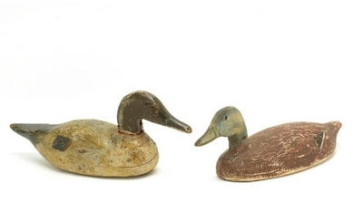 Two Painted Wood Vintage Duck Decoys.