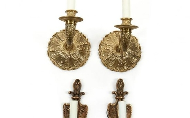 Two Pairs of Vintage Brass Sconces