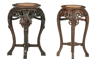 Two marble topped small jardinière stands