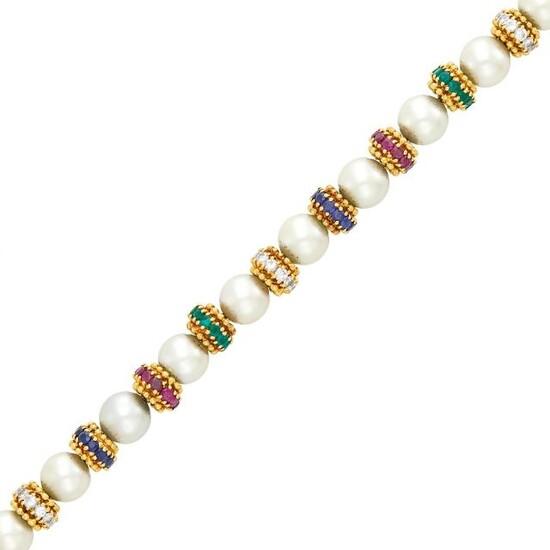 Van Cleef & Arpels Gold, Cultured Pearl, Ruby, Emerald, Sapphire and Diamond Bracelet