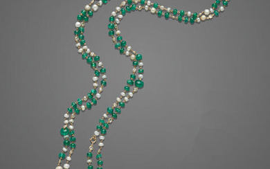 Very Fine Emerald Bead, Natural Pearl and Diamond Long Chain