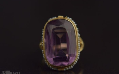 Victorian Gold Amethyst & Natural Pearl