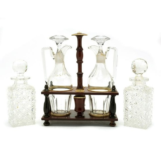 Victorian Turned Mahogany Cruet Stand with Two Bottles