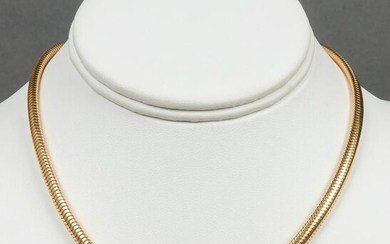 Vintage 14K Yellow Gold Solid Snake Chain Necklace