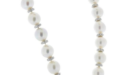 White South Sea Pearls and Diamond Necklace in 18 Karat