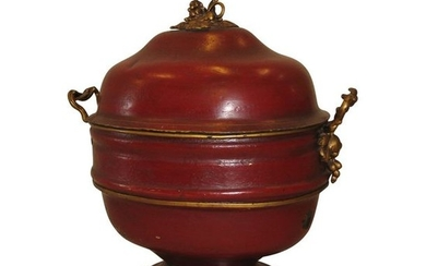 1 Large Regency washbasin in red painted sheet...
