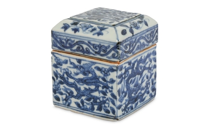 A CHINESE BLUE AND WHITE SQUARE SECTION 'DRAGON' BOX AND COVER.