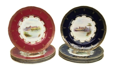 12 Royal Worcester Porcelain Dinner Plates, 1891