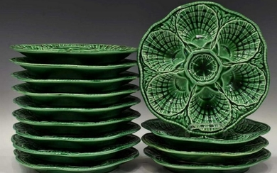 (13) FRENCH SARREGUEMINES MAJOLICA OYSTER PLATES
