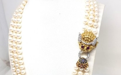 14 kt. White gold, Yellow gold - Necklace - 3.71 ct Diamond - Pearls, Rubys, Sapphires