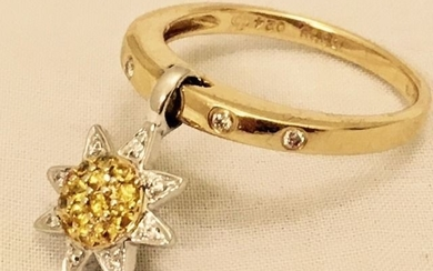 14 kt. Yellow gold - Ring - 0.08 ct Diamond - Citrines