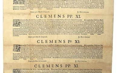 """1712. 4 BULLES from PAPE CLÉMENT XI (J. Fr. Albini; 1649-1721) - """"CLEMENS PP. XI"""", dated Rome April 1712. in Latin. Letters, Seal under paper and manuscript signature."""