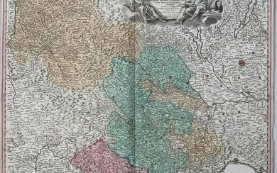 1720 Homann Map of Northwest Italy, the Alps and Lake